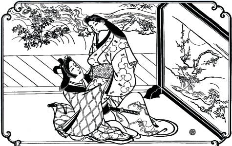 В тени ширмы. Моронобу Хисикава. XVII век